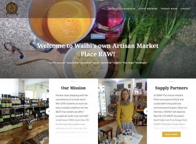 Raw Artisan Marketplace website homepage Paulownia
