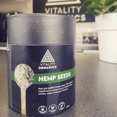 Vitality organics product branding Paulownia